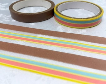 2 Rolls Colorful stripe washi masking tape rainbow stripe washi tape brown yellow stripe sticker tape removable adhesive tape scrapbook gift