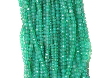 """Natural Green Onyx Faceted Rondel beads 3X4mm Approx 13.5""""inch New Arrival Wholesale price"""