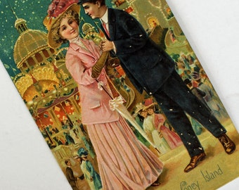 Wonderful Vintage Coney Island POST CARD...Embossed...Early 1900s...Printed in Saxony...Gorgeous colors