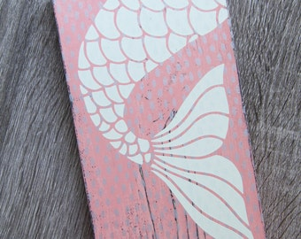 pink mermaid wall hanging