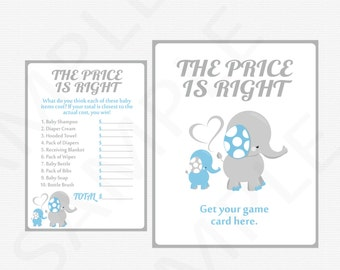 Blue and Gray Elephant Baby Shower Games, Printable Baby Shower Boy, Price is Right Baby Shower Game + Sign Printable INSTANT DOWNLOAD ELLBG
