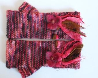 Handknit fingerless mitts arm warmers - Autumn maple