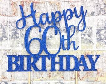60th cake topper, number cake topper, birthday cake topper, glitter cake topper