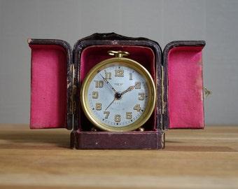 Antique French travel alarm clock DEP, ca 1930.