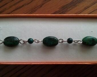 Women's Green Australian Jasper Sterling Silver Bracelet