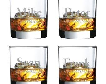 Set of 4 - Engraved Personalized Whiskey Glasses - Groomsmen Gifts - Rocks Glasses (DGI131-RG11OZ)
