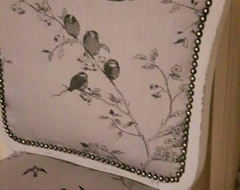 Vintage Chair Recovered in Bird Print