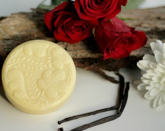 Floral Solid Lotion Bar, vegan, feminine, white flowers, bridesmaid, birthday, soothe, perfume