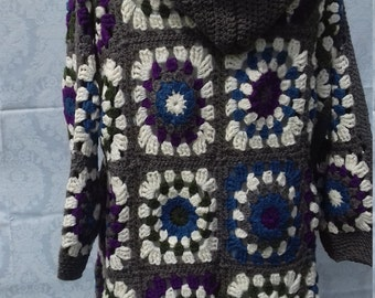 Large Hand Crocheted granny square jacket with hood and a scarf in 100% acrylic