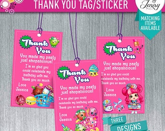SHOPKINS thank you tag/sticker - made to order