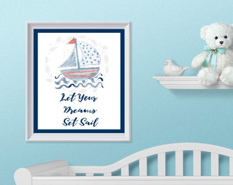 Sail Boat Nursery Decor - Wall Art - 8 x 10 - Nautical Nursery - Sail Boat - Nursery Decor - Nautical Decor - Sail Boat Decor
