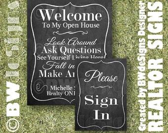 REALTOR Open House Sign Set- Real Estate Signs- FOR SALE Sign- Welcome Sign- Sign In- Custom Realtor signage- Female Realtor Signs- Branding