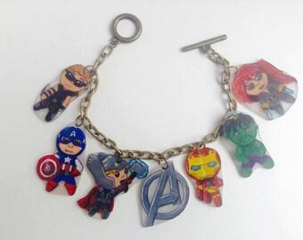 Hand Drawn Avengers Charm Bracelet!