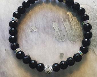 Onyx and Silver Reiki Energized Bracelet