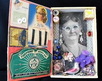 Kitsch Folk Art Sewing Grandma Wooden H. Upmann Cigar Box Shrine