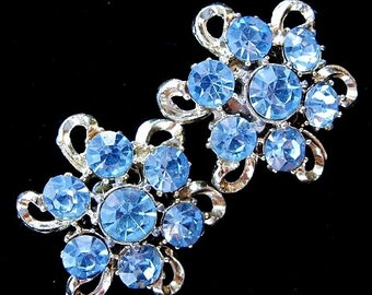 Vintage Sky Blue Rhinestone Screw Back Earrings
