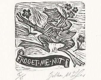 Frog Original Wood Engraving
