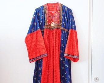 Vintage hippie folk afghan dress S/M
