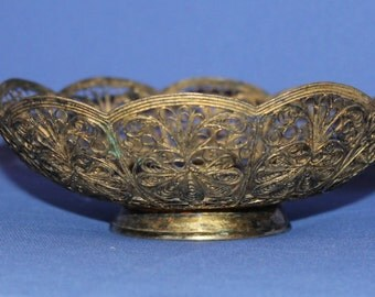 Antique Russian Gilded Filigree Floral Bowl