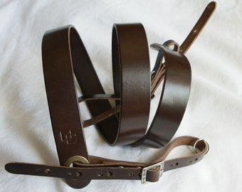 """handmade leather camera strap made in France Urban Cam """"The slasher chocolate"""""""