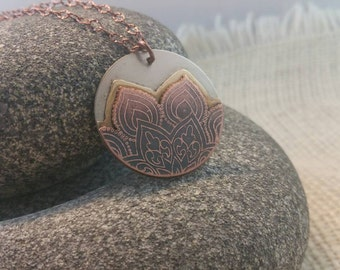 Lotus Flower Jewelry, Copper Jewelry, Copper Necklace, Metalwork Jewelry, Metal Etched Metal, Etched Pendant, Mixed Metal Jewelry