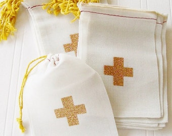 3x5 Hangover Kit Bag With  Gold Cross