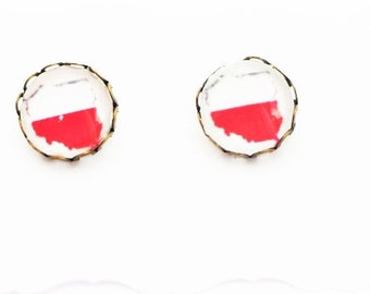 Handmade Polska Euro Cup 2016, Poland Euro Cup 2016, Polska Flaga, Polish Flag, White and Red, Bialo Czerwoni Stud Earrings