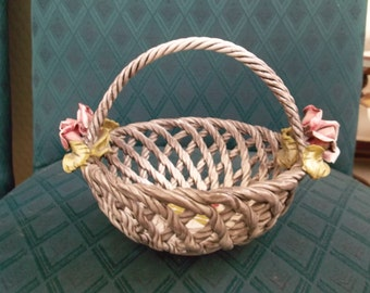 Vintage Dresden Sandizell-Hoffner Reticulated Basket