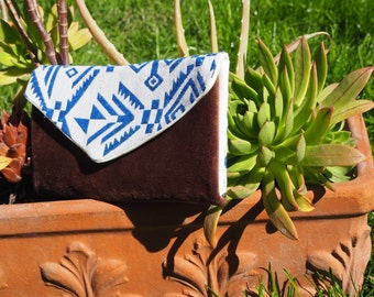 Folding Wallet blue tribal print