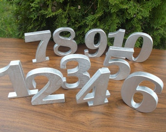 """1-20 5"""" Silver Wooden table numbers, Table decor, Table numbers, Wedding table decoration, Wedding reception decor, Free standing numbers"""