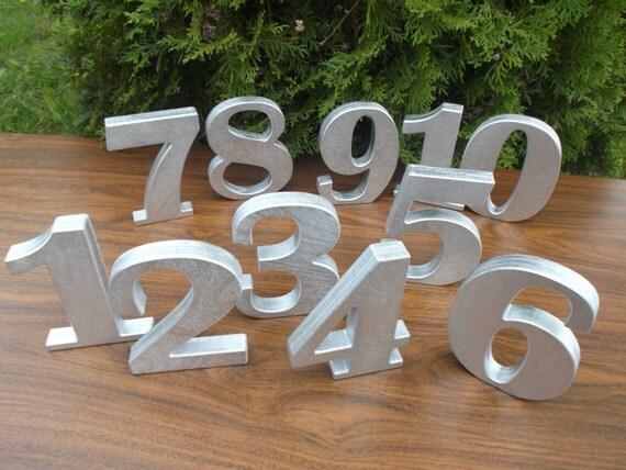 1 20 5 silber holz tischnummern tisch dekoration for Holz dekoration hochzeit