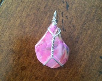 Pink Iridecent Wire Wrapped Pendant