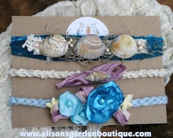 Mermaid- Beach-Seaside- Seashell- Tieback Set- Newborn- Photography Prop