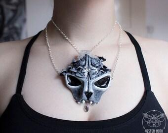 Cat Skull Crystal Necklace