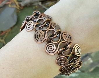 Spiraled Copper Wire Work Bracelet