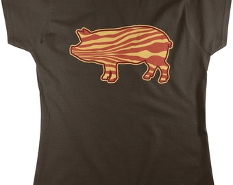Bacon Pig, Pig, Eat Bacon, I Love Bacon, I Love Pigs Women's T-shirt, NOFO_00157