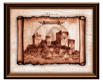 Castle Spain Almodovar,Castle Art,Castle Wall Art,Castle Drawing,Instant Download,Castle Wall Decor,Castle Gift,Castle Printable,Castle Art