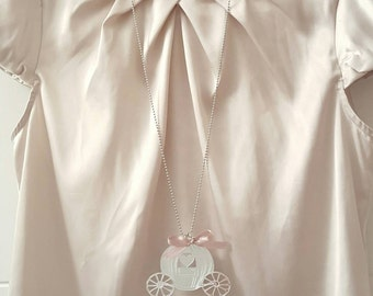 Necklace with silver mirrored acrylic carriage charm