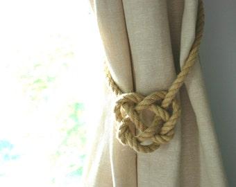 Celtic Heart Hemp Rope Curtain Tiebacks