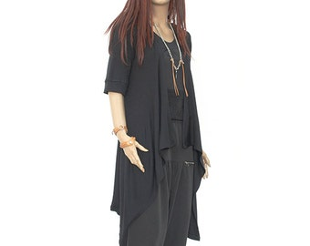 Asymmetrical Cotton Vest / Black Cardigan / Black Rib Cotton Vest