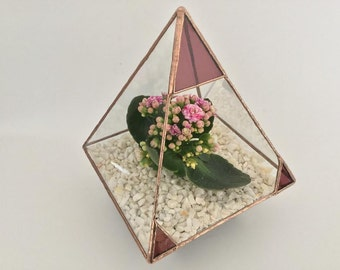 Pyramid stained glass terrarium mini planter made in the UK