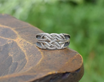 Celtic Knot Vintage Silver 925 Ring, US Size 4.75