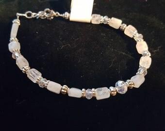 Moonstone and glass bracelet
