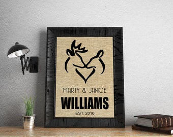 Hunter Wedding Sign, Deer Housewarming Gift, Rustic Wedding Gift, Buck Wedding Gift, Hunter Anniversary Gift, Doe Hunter Decor SBP008