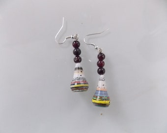 garnet beads paper cones S/S ear wires