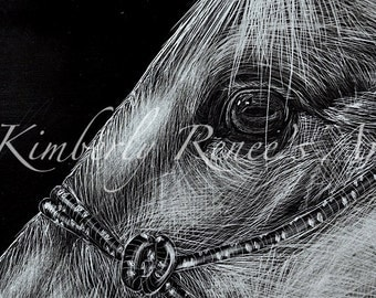 "Horse Scratch Art: Print from my Original Scratch Art ""Break Away Mare""; Western Decor"