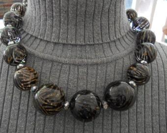 Vintage Chico's Tiger Print Necklace #533