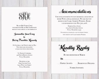 Formal Wedding Invitation Printable, Monogram, Classy, Set, Accommodations, RSVP