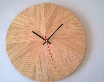 Wall wall clock oak wood inlaid