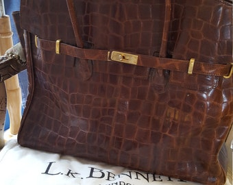 Brown leather large tote by L.K.Bennert